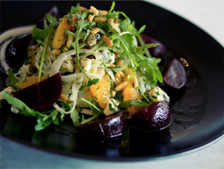 FENNEL, ORANGE AND BEETROOT SALAD WITH CASHEL BLUE, PINE NUTS AND ROCKET