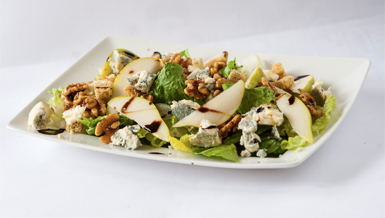 CASHEL BLUE, PEAR, CANDIED WALNUT, BALSAMIC SALAD
